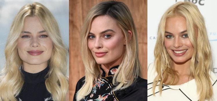 Para conseguir un look natural Margot Robbie combina su sombra de ojos con el colorete