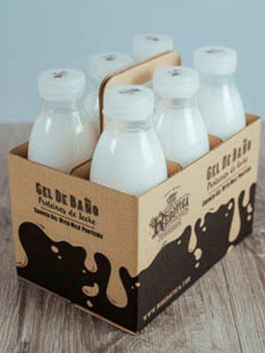 Gel de baño en forma de botellas de leche